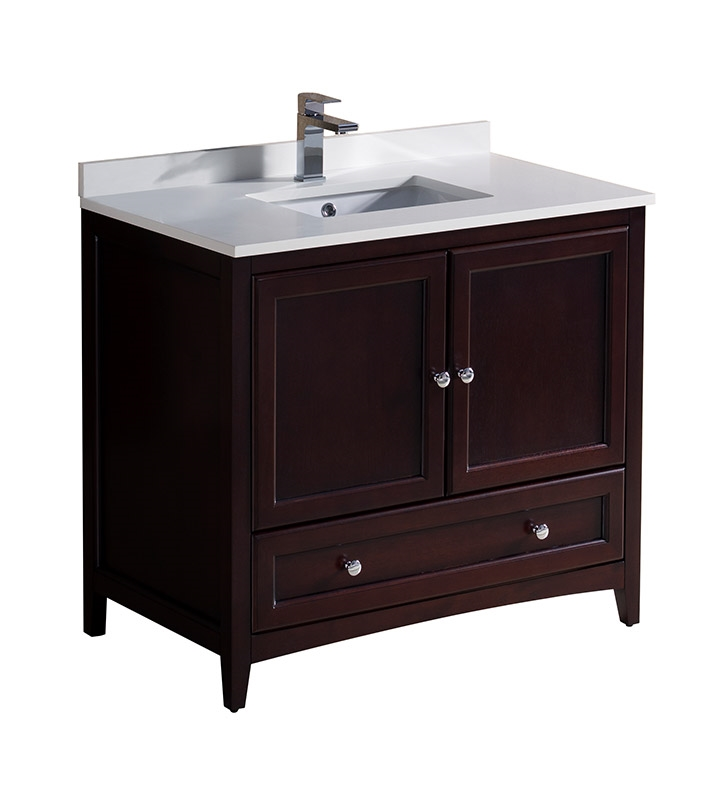 Fresca Oxford 36 Mahogany Traditional Bathroom Cabinet With Top Sink