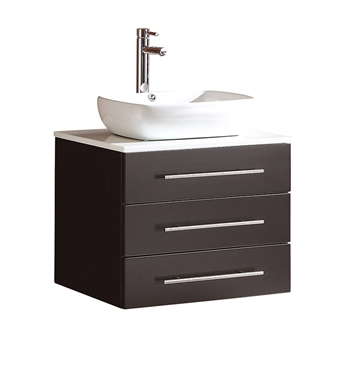 "Fresca Modella 24"" Espresso Modern Bathroom Cabinet with Top & Vessel Sink"