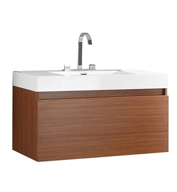 "Fresca Mezzo 39"" Teak Modern Bathroom Cabinet with Integrated Sink"