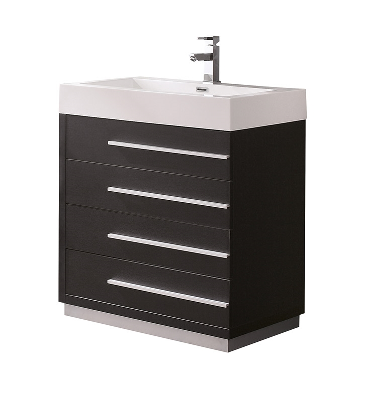 Fresca Livello 30 Black Modern Bathroom Cabinet With Integrated Sink