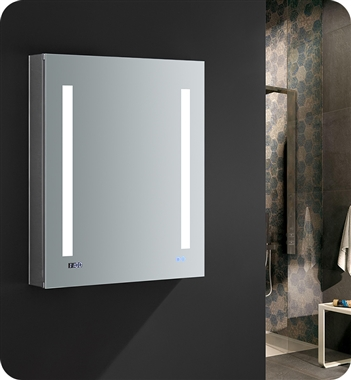 "Fresca Tiempo 24"" Wide x 30"" Tall Bathroom Medicine Cabinet with LED Lighting & Defogger"