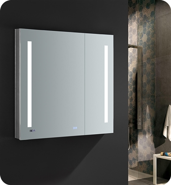 "Fresca Tiempo 36"" Wide x 36"" Tall Bathroom Medicine Cabinet with LED Lighting & Defogger"