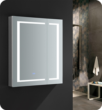 "Fresca Spazio 30"" Wide x 36"" Tall Bathroom Medicine Cabinet with LED Lighting & Defogger"
