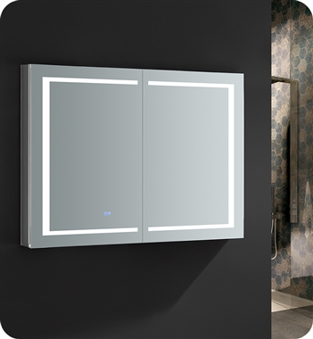 "Fresca Spazio 48"" Wide x 36"" Tall Bathroom Medicine Cabinet with LED Lighting & Defogger"