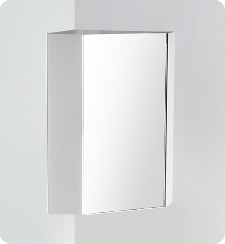 Fresca coda 18 white corner medicine cabinet w mirror Corner medicine cabinet