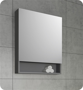 "Fresca 24"" Gray Bathroom Medicine Cabinet w/ Small Bottom Shelf"