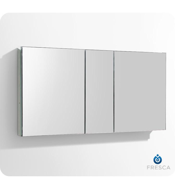 Fresca 50 wide bathroom medicine cabinet w mirrors ebay for Bathroom cabinets 55cm wide
