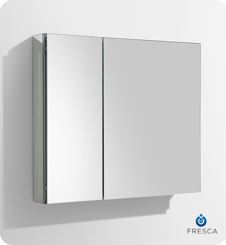 Fresca 30 wide bathroom medicine cabinet w mirrors ebay for Bathroom cabinets 25cm wide
