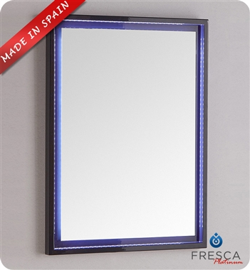 "Fresca Platinum Due 23"" Bathroom Mirror with LED Lighting in Glossy Cobalt"