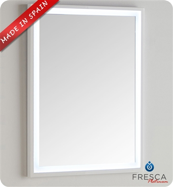 "Fresca Platinum Due 23"" Bathroom Mirror with LED Lighting in Glossy White"