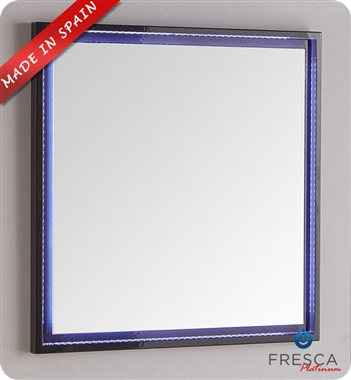 "Fresca Platinum Due 31"" Bathroom Mirror with LED Lighting in Glossy Cobalt"