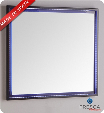 "Fresca Platinum Due 35"" Bathroom Mirror with LED Lighting in Glossy Cobalt"