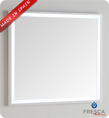 "Fresca Platinum Due 35"" Bathroom Mirror with LED Lighting in Glossy White"