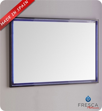"Fresca Platinum Due 47"" Bathroom Mirror with LED Lighting in Glossy Cobalt"