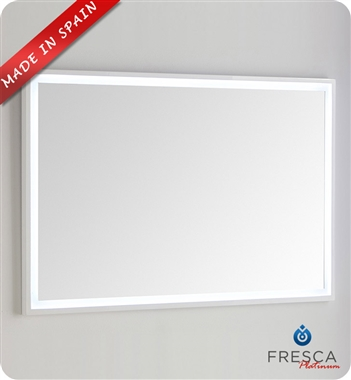 "Fresca Platinum Due 47"" Bathroom Mirror with LED Lighting in Glossy White"