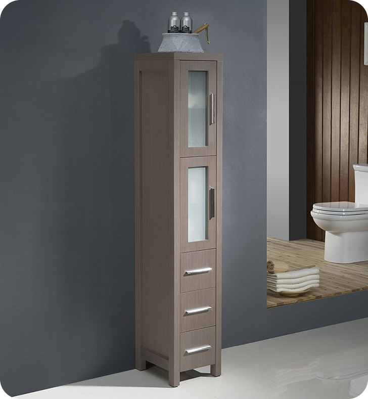 high end bathroom vanity cabinets tall linen side cabinet gray oak quality