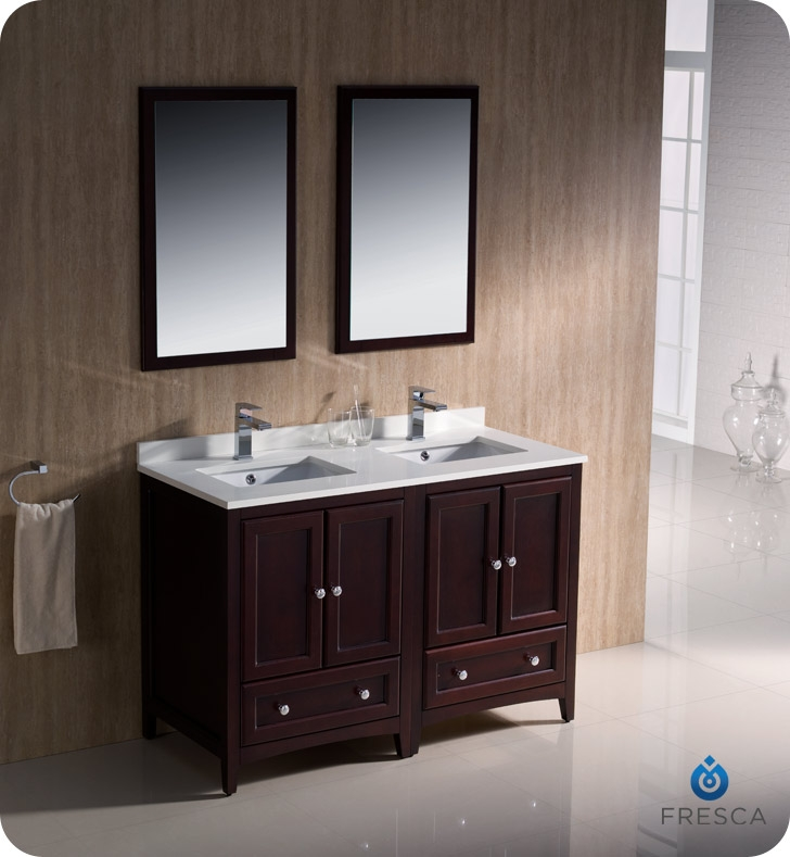 Fresca Oxford 48 Mahogany Traditional Double Sink Bathroom Vanity
