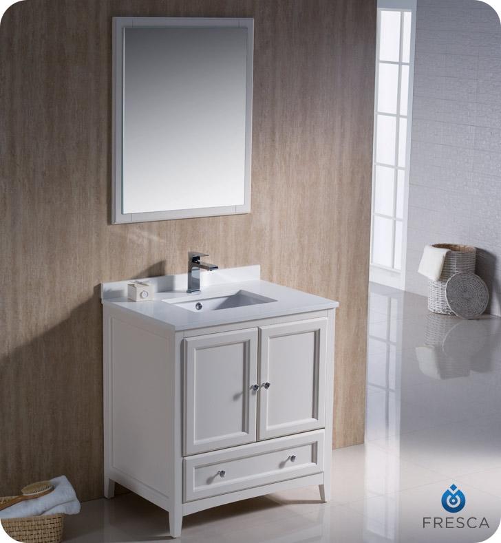 Fresca Oxford 30 Antique White Traditional Bathroom Vanity