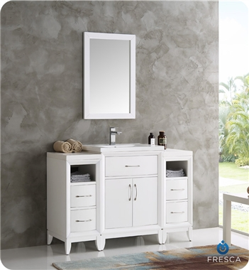 "Fresca Cambridge 48"" White Traditional Bathroom Vanity with Mirror"