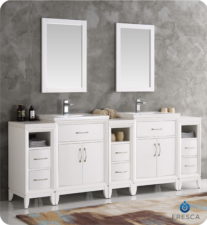 sink vanity white bathroom traditional wood mirror double inch vanities with single