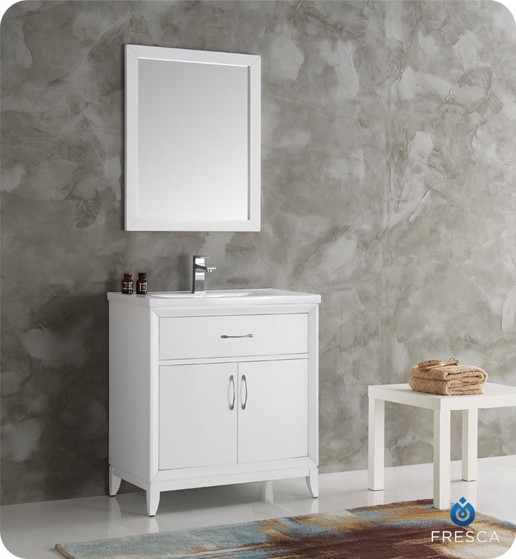 Fresca Cambridge 30 White Traditional Bathroom Vanity With Mirror