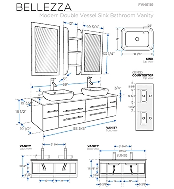 Fresca Bellezza 59 Natural Wood Modern Double Vessel Sink Bathroom Vanity FVN6119NW on pop up installation