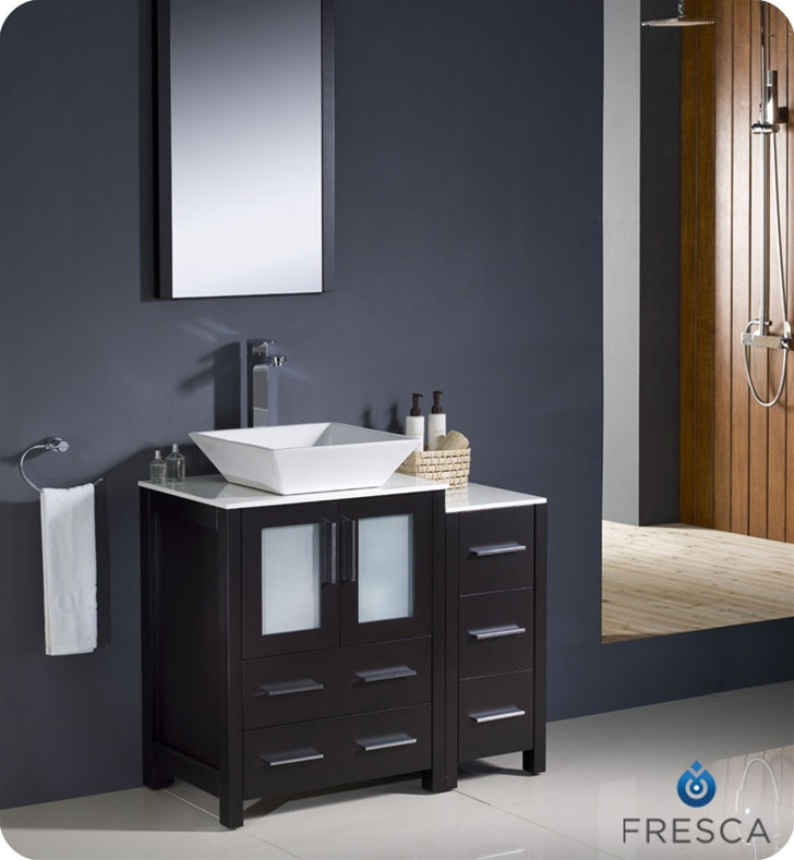 Fresca Torino 36  Espresso Modern Bathroom Vanity w/ Side Cabinet u0026 Vessel Sink & Bathroom Vanities | Buy Bathroom Vanity Furniture u0026 Cabinets | RGM ...