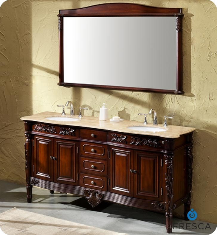 Fresca Laberge Antique Double Sink Bathroom Vanity w/ Travertine Countertop - Bathroom Vanities Buy Bathroom Vanity Furniture & Cabinets RGM