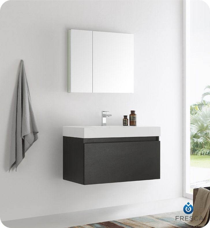"Fresca Mezzo 36"" Black Wall Hung Modern Bathroom Vanity with Medicine Cabinet"