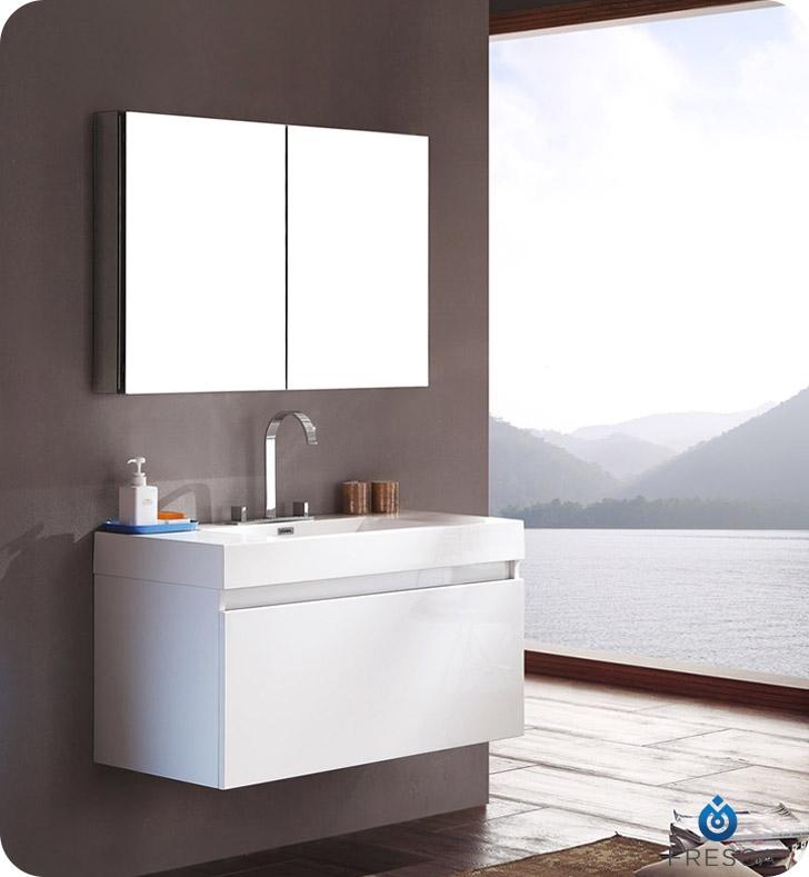 Fresca Mezzo White Modern Bathroom Vanity w/ Medicine Cabinet