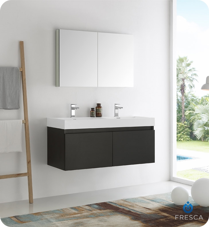 Fresca Mezzo 48 Black Wall Hung Double Sink Modern Bathroom Vanity With Medicine Cabinet