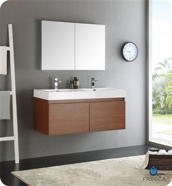 "Fresca Mezzo 48"" Teak Wall Hung Double Sink Modern Bathroom Vanity with Medicine Cabinet"
