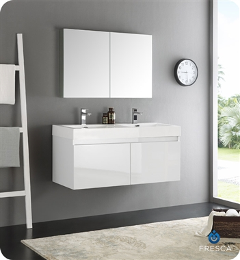 "Fresca Mezzo 48"" White Wall Hung Double Sink Modern Bathroom Vanity with Medicine Cabinet"