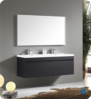 Fresca - Largo - (Black Wood) Double Sink Bathroom Vanity w/ Wavy Sink - FVN8040BW