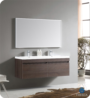 Fresca - Largo - (Gray Oak) Double Sink Bathroom Vanity w/ Wavy Sink - FVN8040GO