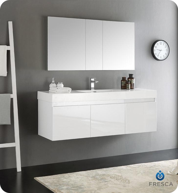 "Fresca Mezzo 60"" White Wall Hung Single Sink Modern Bathroom Vanity with Medicine Cabinet"