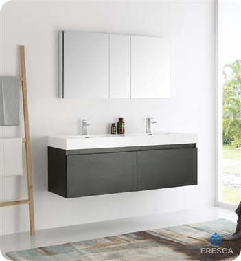 "Fresca Mezzo 60"" Black Wall Hung Double Sink Modern Bathroom Vanity with Medicine Cabinet"