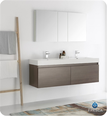 "Fresca Mezzo 60"" Gray Oak Wall Hung Double Sink Modern Bathroom Vanity with Medicine Cabinet"