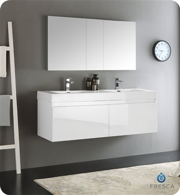 "Fresca Mezzo 60"" White Wall Hung Double Sink Modern Bathroom Vanity with Medicine Cabinet"
