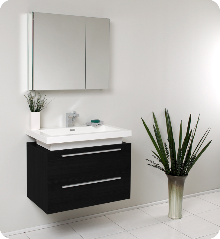 fresca medio black bathroom vanity w two drawers and white acrylic