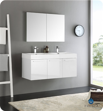 "Fresca Vista 48"" White Wall Hung Double Sink Modern Bathroom Vanity with Medicine Cabinet"