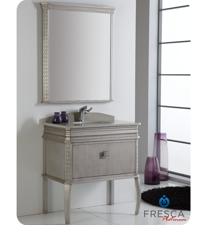 Fresca Platinum London 32 Antique Silver Bathroom Vanity W Swarovski Handles