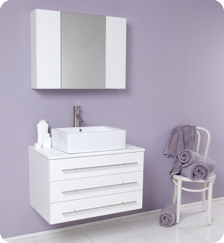 fresca modello white bathroom vanity w white ceramic sink and medicine