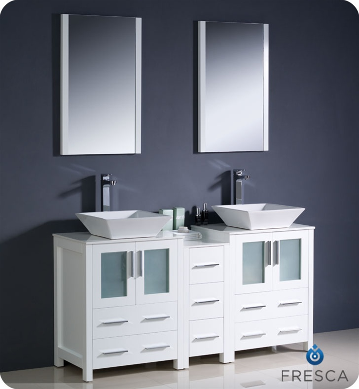 Fresca Torino 60 White Modern Double Sink