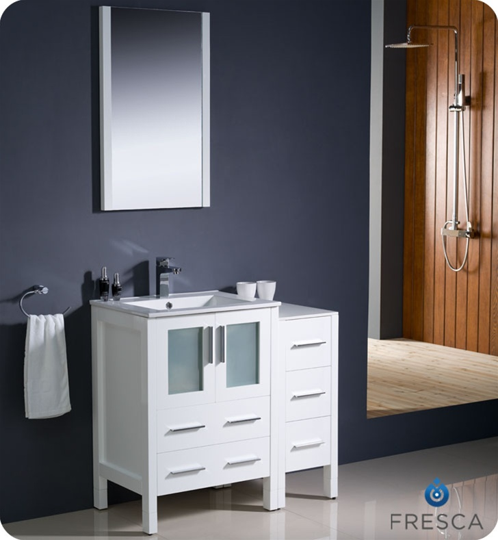 Fresca Torino 36 White Modern Bathroom Vanity W Side Cabinet Integrated Sink