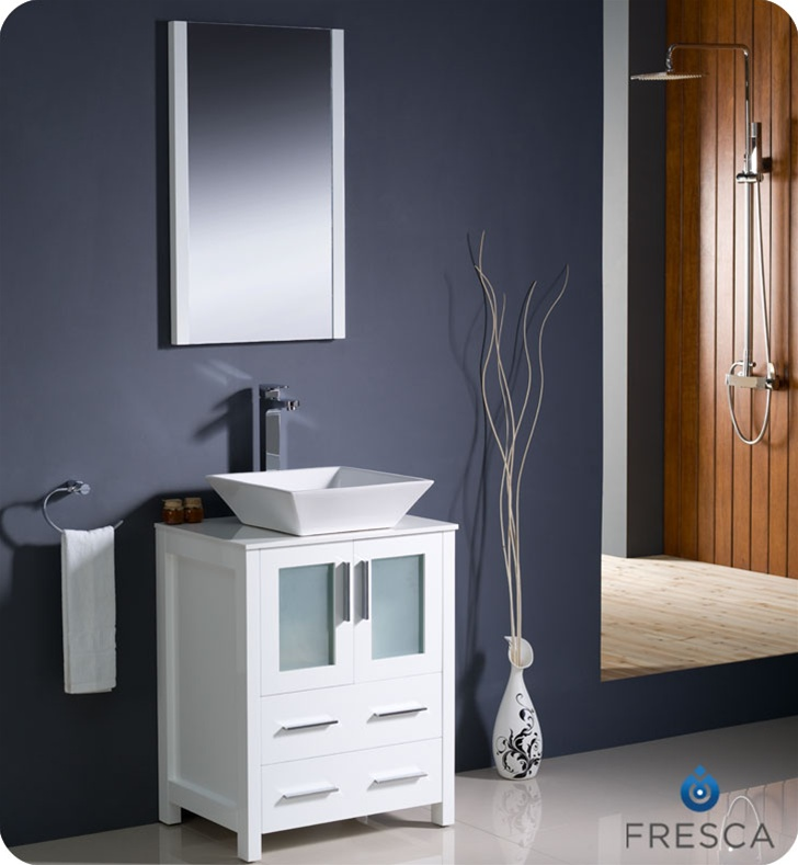 Fresca Torino 24 White Modern Bathroom Vanity W Vessel Sink