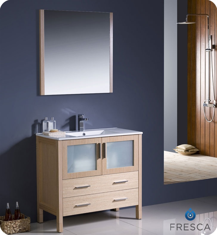 Bathroom vanities buy bathroom vanity furniture cabinets rgm fresca torino 36 light oak modern bathroom vanity w integrated sink mozeypictures Image collections