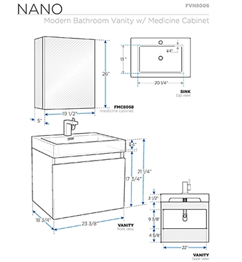 bathroom cabinets dimensions fresca fvn8006go nano 23 38 inch gray oak modern bathroom 10362