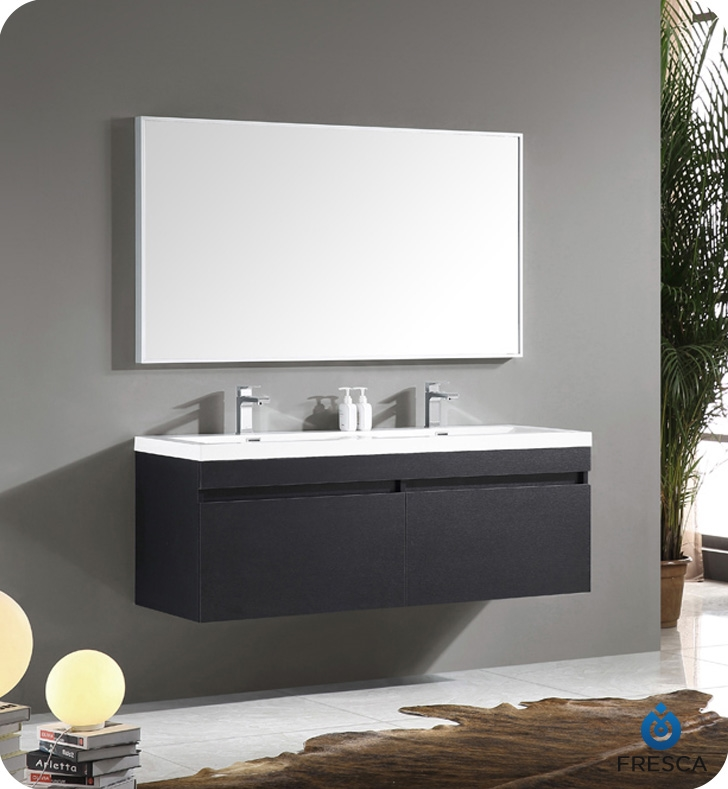 fresca largo black wood double sink bathroom vanity w wavy sink