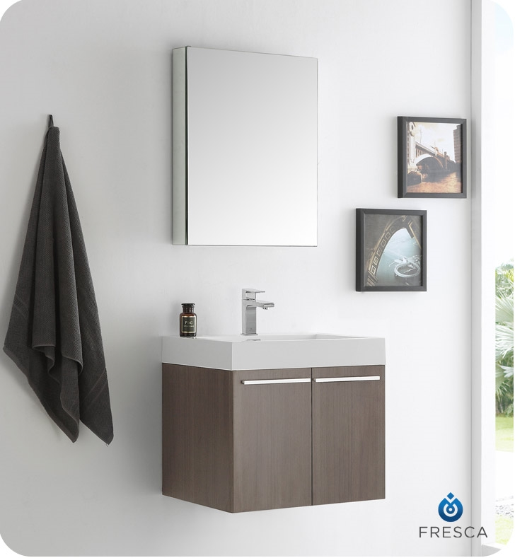Fresca alto 23 gray oak wall hung modern bathroom vanity with medicine cabinet